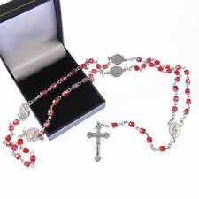 Red iridescent crystal glass silver cross rosary beads and gift box Catholic