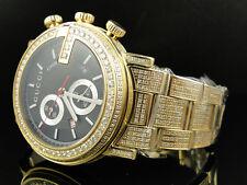 New Custom Mens 101 G Gold PVD Real 44 MM Diamond Gucci Ya101334 Watch 8.85 Ct
