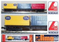 LIMA 307 CARRO MERCI LUNGO FS ITALY PORTA CONTAINERS con 3 CONTAINER BOX SCALA-N