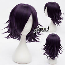 Purple Black 35CM Short Layered Heat Resistant Anime Basic Cosplay Wig + Cap