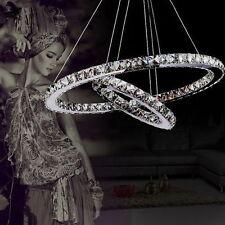 Modern Crystal 2 Rings Pendant Light Ceiling Lamp Circle Chandelier LED Living
