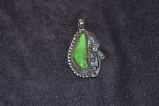 Handmade Sterling Silver and Green Turquoise Pendant