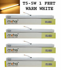 4 Pcs Mehai T5-5W Slim Led Tube Light 1 Feet(300MM) For Warm White Home &Office