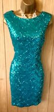Women's JANE NORMAN Aqua full sequin bodycon party DRESS UK 16 ( US 12 )