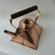 Unusually Shaped Antique Arts & Crafts Copper, Brass & Wood Kettle