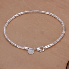 Ladies 925 Sterling Silver Snake Rope Chain 3,mm Charm Bracelet Length 8'' Gift