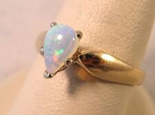 14K Gold Natural Fire Pear-shaped Opal Vintage Ring 2.4gr Sizable 7 Designer MK