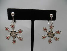 """CLIP ON-Silver XL snow flake clip on earrings w/red, clr green stones. 1 3/4"""""""