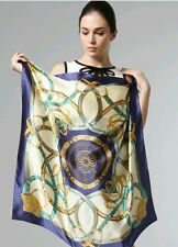 New Style Navy Blue chain Square Scarves Ladies 100% pure Silk Scarf