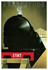 Exactitude Poster, ETAT, Train, Railroad, Art Deco, Vintage Travel Poster