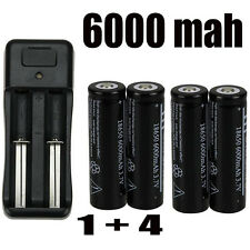 4PC 6000mAh 3.7V 8650 Li-ion Rechargeable Battery and 18650 Dual Charger USA OB