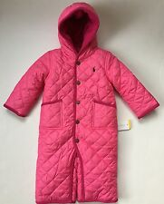 NWT Ralph Lauren Baby Girl Polo Pony Quilted Pink Snowsuit Bunting Sz 9 Mos