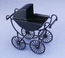 Miniature Dollhouse Black Metal Baby Carriage 1:12 Scale New