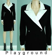 Vintage black velvet white notched collar front slit mini dress