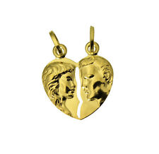 14K Yellow Gold Broken Heart Charm Pendant