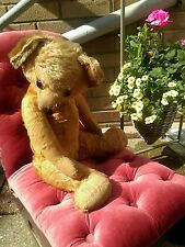 Antique merrythought loved old jointed mohair teddy bear ,refus full of charm