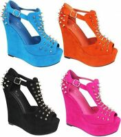 NEW WOMENS/LADIES SPIKE STUDDED SUEDE PLATFORM PEEPTOE HIGH WEGDE  SHOES SZ 3-8