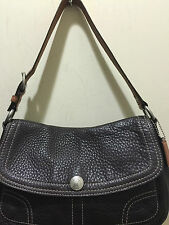 COACH VINTAGE CHELSEA BROWN PEBBLED SHOULDER BAG BROWN LEATHER H:8 L:12 D:3