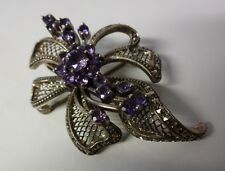 Vintage Rare Fine Mark Sterling Silver 925 Marcasite Amethyst Bow Pin Brooch