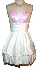 Betsey Johnson White Sequin Bodice Cumberbund Waist Strapless Dress Sz 2