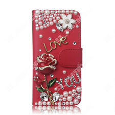 Bling Hot Diamond Crystal Leather Flip Wallet Card Case Cover For Various Phones