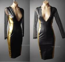 Gold Black Faux Leather Low-Cut Deep V Plunge Neck Hourglass Club 58 ac Dress S