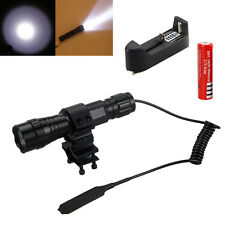 Tactical 2000LM CREE T6 LED Flashlight Torch Pressure Switch Mount Hunting Light