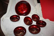 KYOWA Red Laquer ware salad bowl set  STUNNING 7 PC.