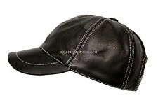 BASEBALL Black White Stitches Small Unisex Soft Leather Hip-Hop Cap Hat