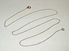 """Vintage ANTQ Fine Dainty Solid 14K Yellow Gold Thin Oval Link Necklace 17"""" 1MM"""