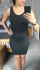 H&M Grey Cotton Bodycon Dress With Eyelets And Zip Size 8 - Used