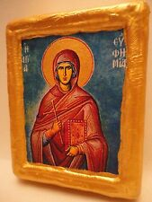Saint Euphemia Eufemia Effie Efy Rare Greek Eastern Orthodox Icon on Real Wood