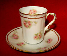 LIMOGES OLD ABBEY CORONET DEMITASSE COFFEE CUP & SAUCER SET(S) PINK ROSES GOLD