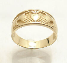 Size 6 All Shiny Claddagh Celtic Ring Solid Real 14K Yellow Gold 2.9 grams
