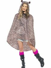 Unisex Womens Mens Leopard Party Poncho Festival Animal Waterproof Fancy Dress