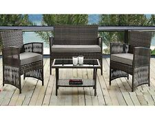 NEW MADRID 4PC RATTAN GARDEN PATIO FURNITURE CONSERVATORY SOFA CHAIR TABLE SET