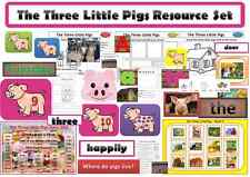 The three little pigs resourse set EYFS or KS1, childminders numeracy literacy