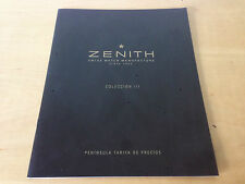 Used - Price list ZENITH Lista de precios - Collection III watches - Nov. 2003
