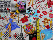 Paris Pin Ups Ladies Eiffel Tower White BY YARDS Timeless Treasure Cotton Fabric