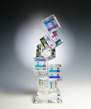 "NEW Dichroic Optic Crystal Glass Sculpture ""TANGO"" made by Ray Lapsys"