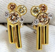 $9000 2.00CT NATURAL FANCY COLOR ORANGE YELLOW BROWN DIAMONDS EARRINGS 18KT DECO