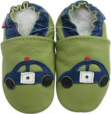 carozoo police car green 6-12m soft sole leather baby shoes