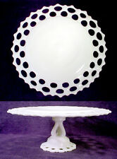 Vintage WESTMORELAND Doric Open Lace Edge MILK GLASS Pedestal CAKE STAND Plate