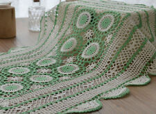 "Vintage Hand Crochet Lace Doily 23"" Oblong Green Tray Cloth Placemat"