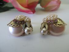 Vintage Embellished Button Pearl Rhinestone Clip Miriam Haskell Style Earrings