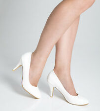 Ladies Womens Mid Heel Court Shoe / Office / Formal Shoes - White - UK Size 8