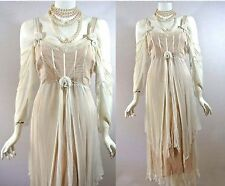 NATAYA Cream Ivory Wedding Bridal Dress VINTAGE Style Gown Victorian Formal M