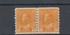#126 one cent Admiral coil pair VF MH Cat$30, Canada mint