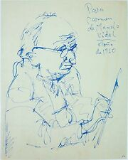 SELF PORTRAIT. BLUE INK ON PAPER. MANUEL VIDAL (1929-2004). CUBA (?). 1960.