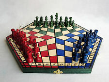 BRAND NEW 40CM THREE PLAYER WOODEN CHESS SET + RULES